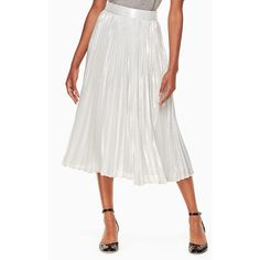 silver metallic pleated skirt (1,280 PEN) ❤ liked on Polyvore featuring skirts, white pleated skirt, white skirt, silver metallic skirt, white knee length skirt and knee length pleated skirt