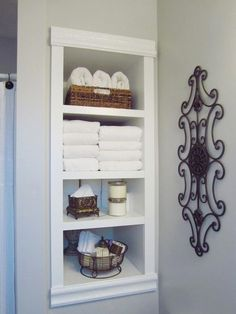 Built-In Storage Between the Studs/HomeStagingBloomingtonIL ---- DIY project to add more storage to your bathroom or any room where storage or interest is needed! Built In Bathroom Storage, Small Bathroom Organization, Built In Storage, Organization Ideas, Shelving In Bathroom, Wall Storage, Bathroom Storage Cabinets, Decorating Bathroom Shelves, Extra Storage Space