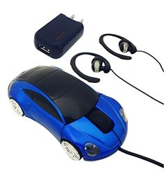 Top 3 Piece Best Blue Computer Sports Car Mouse Earbud Bundle Set Muscle Car Lovers Electronic Gadget Unique Gag Cool Stocking Stuffer Present Idea Him Teen Boy Boyfriend Kid Dad Executive *** Read more reviews of the product by visiting the link on the image.