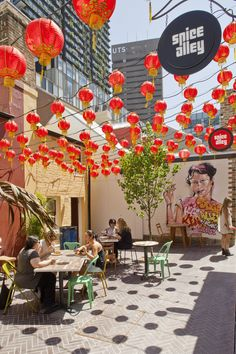 An outdoor restaurant in the Kensington Street public space reuse project Sydney, Australia