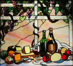 http://spectrumstainedglassstudio.com/index.html Wine cheese and bread stained glass window by tom nelson