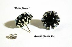 DIY Beading tutorial - Petite flower post earrings with round seed beads and crystals