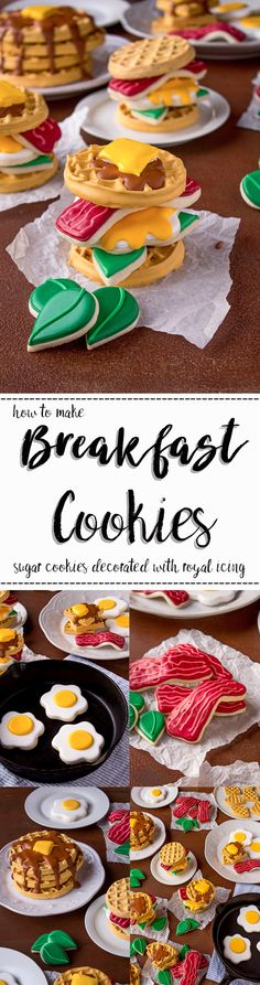 Breakfast Cookies-How to Make a Display You'll Love Using these Tutorials | The Bearfoot Baker    Decorated Cookies | Sugar Cookies | Royal Icing | How to | Food Cookies | Breakfast Cookies | Egg Cookies | Bacon Cookies | Waffle Cookies | Photography | Take Cookie Photos | Waffle Sandwich | Stack of Waffle Cookies