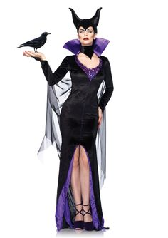 3 Piece Maleficent Licensed Disney Costume, includes satin trimmed velvet dress with stay up collar and attached sheer cape, neck piece, and horn headband. PLEASE NOTE: Due to the popularity of this item it may take an additional 4 day for processing of this item. 2 Day shipping will not expedite this only the shipping time. For more information please see our Store Policy. Store Policy