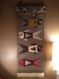 Mid Century Danish Style Modernist Wool Wall Hanging Tapestry Fish | eBay