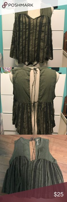 EUC Free People Open Back Tank Size Medium Beautiful EUC Free People Olive Green Open Back Tank With Embroidered Detail. Free People Tops