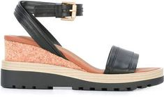 See by Chloe ankle strap wedge sandals Ankle Strap Wedges, Wedge Sandals, See By Chloe, Espadrilles, Black Leather, Stuff To Buy, Shopping, Shoes, Fashion