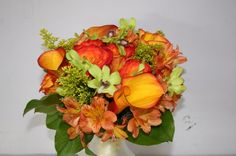 Fall Spring Summer Winter Green Orange Red Yellow Bouquet Wedding Flowers Photos & Pictures - WeddingWire.com