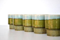 Vintage Mug Collection Six Green Blue Stacking Mugs with