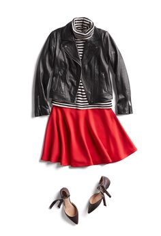 I actually really love turtlenecks and I love the black leather jacket with the pop of red color. How we're doing sugar, spice & everything nice. Add spicy red & sweet bows to your look for extra festive flair. Red Skirts, Cute Skirts, Casual Outfits, Cute Outfits, Striped Turtleneck, Stitch Fix Outfits, Runway Fashion, Fashion Trends, Women's Fashion