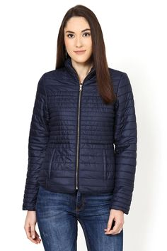 The nylon quilted jacket is inspired from the down feather sporty jacket look. The golden zipper at front and at cuffs adds to the detailing of this chic winter short jacket. Winter Shorts, Quilted Jacket, Winter Jackets, Navy Blue, Sporty, Collection, Style, Fashion, Padded Jacket
