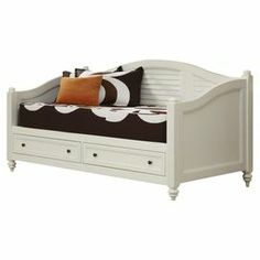 """Bring country-chic appeal to your guest room with this eye-catching daybed and media console set, showcasing louvered details and a white finish.    Product: Daybed and media consoleConstruction Material: Solid mahogany and engineered wood Color: Brushed whiteFeatures: Two storage drawers in the daybedDimensions: Media Console: 42"""" H x 36"""" W x 16"""" DDaybed: 44"""" H x 82"""" W x 43"""" D"""