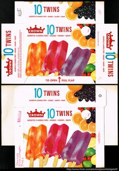 Crown - 10 Twins popsicle - frozen treart package box - Marathon printer sample - 1962