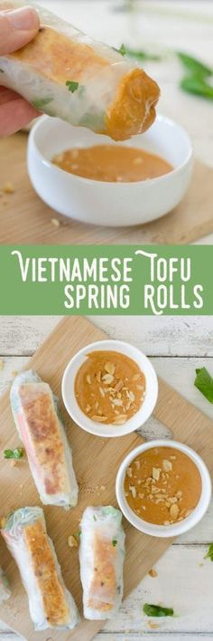 Vietnamese Tofu Spring Rolls! You will love these healthy salad rolls. Spring Rice Rolls stuffed with crispy peanut tofu, shredded cabbage, carrots, mint, cilantro and vermicelli noodles. Served with a spicy peanut-lime dipping sauce. Vegan and easily gluten-free.   www.delishknowledge.com