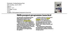 Sunday Business Post- Startup Ireland launch Innovation and ENtrepreneurial Skills passport programme.