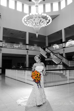 Bride in the lobby at east winds -takes beautiful pictures