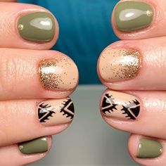 loving the tribal with olive! 😍 • • • #luxiovert #tribalnails #gelmanicure #gelmani #nailart