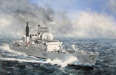 HMS Sheffield by Derek Blois. From - Digital & Giclee Prints available online. Enquire about purchasing original or commissions. Brighton Houses, Falklands War, Wooden Ship, Nautical Art, Navy Ships, Royal Navy, Military Art, Sheffield, Digital Prints