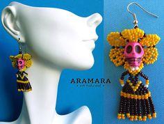 Huichol Catrina Earrings KT-0008 Mexican earringsMexican