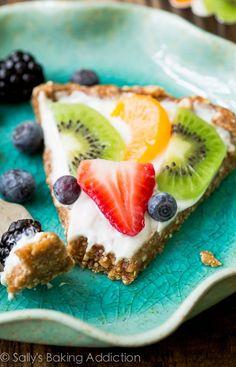 Healthy Greek Yogurt Fruit Tart-- gluten free and ready in less than 30 minutes!