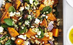 Toasted pistachios and preserved lemon add crunch and interest to this roast pumpkin, feta and chickpea salad. Toasted pistachios and preserved lemon add crunch and interest to this roast pumpkin, feta and chickpea salad. Chickpea Salad Recipes, Vegetarian Recipes, Cooking Recipes, Healthy Recipes, Chickpea Feta Salad, Vegetarian Salad, Cooking Rice, Cooking Pork, Okra And Tomatoes