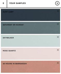 Backdrop color palette, Surf Camp x Saturday on Sunday x Skywalker x Rose Quartz x 36 Hours in Marrakesh. House Color Palettes, Color Schemes Colour Palettes, Paint Color Schemes, Colour Pallete, Decorating Color Schemes, Cool Color Palette, Color Trends, Bedroom Colour Palette, Bedroom Color Schemes