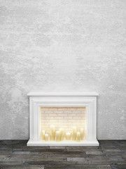 Interior picture with classical white candle fireplace, aged gray wooden floor and empty rough stucco wall background. 3d rendering.