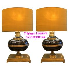1950s Pair of Table Lights Rare Solid Brass & Black lacquered Wood Base, Gold Silk Shades. Re-wired. Measurements: H 58cm W 36cm Base W 25cm. For more info contact Emilia 07811008144 or emiliaporto@aol.com @alfiesantiques @timeoutlondon @elledecor #interiors #design #home #inspiration #furniture #midcentury #lighting #Marylebone #London #Chelsea #house #designer #bright #modern #vintage #antique #decor #designinterior #decoration #light #ideas #architecture #interior #interiordesign #French