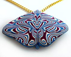 Polymer Clay Butterfly Pendant on Chain Blue by CicadaArtJewelry