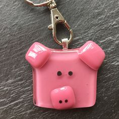 Items similar to Pig gift, piggy keyring, farmyard animal gift on Etsy Fused Glass Ornaments, Fused Glass Jewelry, Fused Glass Art, Dichroic Glass, Glass Pendants, Stained Glass, Glass Fusion Ideas, Glass Fusing Projects, Fire Glass