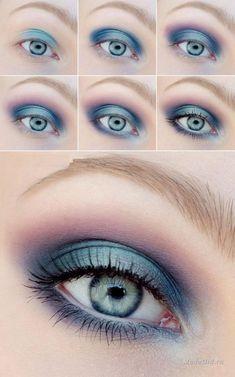 blue eye make up Makeup Geek, Skin Makeup, Makeup Inspo, Makeup Inspiration, Makeup Tips, Makeup Ideas, Makeup Remover, Makeup Brushes, Disney Eye Makeup