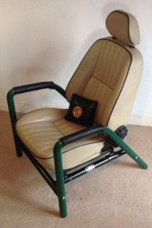 M G chair top quality leather seat limited number, unique, classic automobile. Custom tubular frame in british racing green by ScavengerDesignBton on Etsy https://www.etsy.com/uk/listing/273211378/m-g-chair-top-quality-leather-seat
