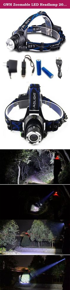GWH Zoomable LED Headlamp 2000 Lumen Rechargeable Headlight Camping Lamp Bicycle Head Light for Outdoor Biking Hiking Fishing Hunting. Specification: Model of LED: XM-L T6 Switch Mode: Strong Brightness / Low Brightness / Flashing Zoom: Yes Battery: 2*18650 Li-ion rechargeable battery Waterproof: can use in rainning (can't work under water) Purpose: camping,hiking,riding,hunting,fishing,etc. Notice: 1.Pease remove the paper on the batteries at first time use,otherwise the headlamp can't...