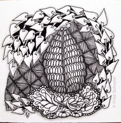 2015-051, One Zentangle A Day, Day 25 and 26 featuring Poke Leaf and Growth with some Tat and Festune on a Yincut background. Used TanglePatterns.com String 016.