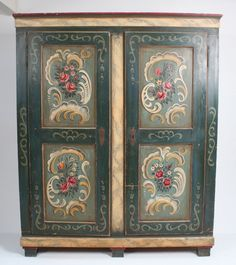Fine Late C18th Antique French Hand Painted Original Large Armoire Wardrobe 1780-1800