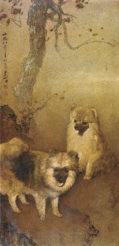Lee Man Fong (November 14, 1913 - April 3, 1988) - Two dogs