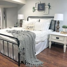 Super Farmhouse Bedroom Design and Decor Ideas - Bedroom Decor Ideas Woman Bedroom, Dream Bedroom, Peaceful Bedroom, Texas Bedroom, Bedroom Bed, Warm Bedroom, Bedroom Black, Master Bedroom Grey, Bedroom Wall Art Above Bed