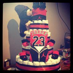 Jordan diaper cake baby shower ideas for boys