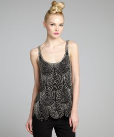 Joie black and silver silk chiffon beaded scallop b- - Bluefly