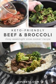 Beef & Broccoli is a classic Chinese take-out favorite getting a keto makeover! With the slow cooker, it's easy to make during the week! #keto #ketofriendly #ketogenic #lowcarb #beefandbroccoli #slowcooker #crockpot #recipes #ketobeefandbroccoli #dinner