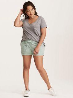 Plus Size Pull-On Linen Shorts, GRANITE GREEN