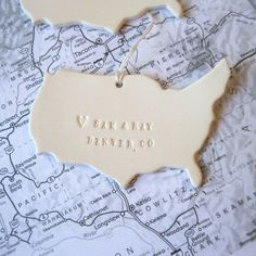 map ornament where we met or where you were born with personalized names, date and location by Paloma's Nest