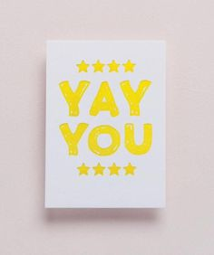 YAY YOU Letterpress Mini Card