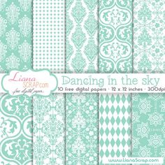 Free digital paper pack – Dancing In The Sky Set.by liana Free digital paper with damask pattern in light turquoise and white. These designs will bring elegance and beauty to any layout. Free Digital Scrapbooking, Digital Scrapbook Paper, Digital Paper Freebie, Digital Papers, Digital Backgrounds, Scrapbook Background, Web Design, Shabby Chic, Printable Designs