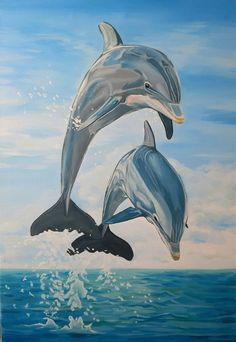 Original Seascape Painting by Lidia Mishchenko | Realism Art on Canvas | Dolphin couple - original oil painting, realism, painti