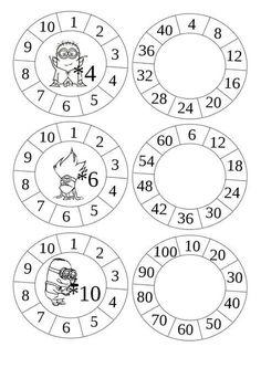 Multiplication Wheels - get cr 2nd Grade Math, Math Class, Math Games, Math Activities, E Learning, Multiplication Facts, School Worksheets, Writing Numbers, Math For Kids