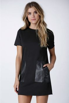 Don't Front Mini Shift Dress in Black   Necessary Clothing