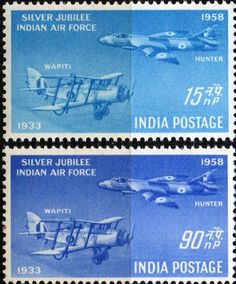 India 1958 Silver Jubilee of Indian Airforce Fine Mint SG 397 8 Scott 300 1 Other British Commonwealth Empire and Colonial stamps Here