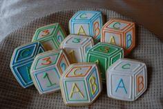 Baby Block Sugar Cookie Favors by PeriodicCookies on Etsy, $36.00