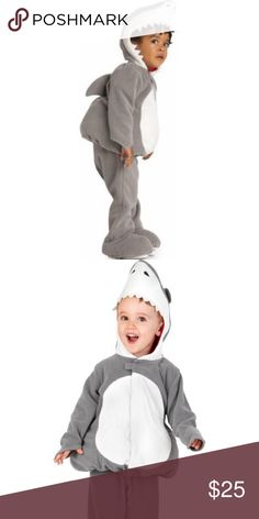 Toddler Shark costume Adorable shark costume. Worn once. In perfect condition other than some wear on the straps that go underneath shoes. Made of fleece to keep your kiddo warm and cuddly on a cold Halloween night! Old Navy Costumes Halloween